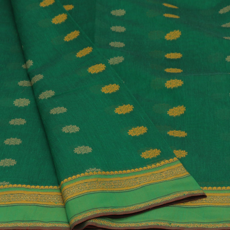 kotta Cotton Saree Green with butta and Simple Border