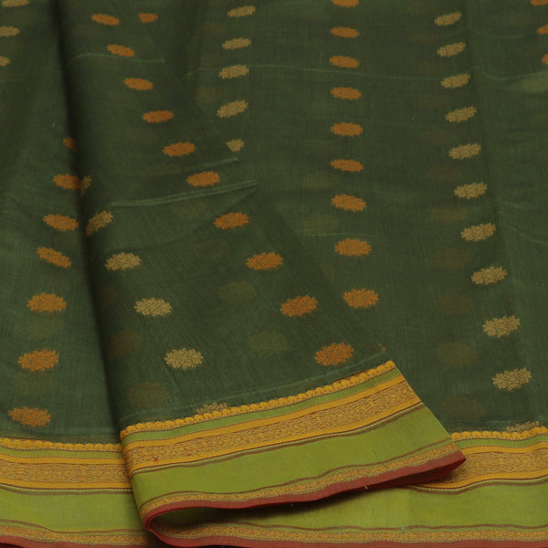 kotta Cotton Saree Moss Green With Butta and Simple Border
