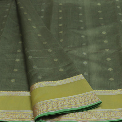 kotta Cotton Saree Mixed Greyish Green With Butta and Simple Border