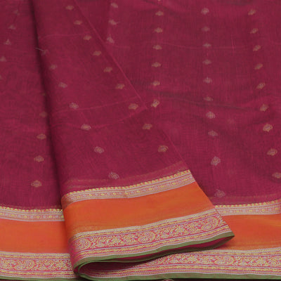 kotta Cotton Saree Magenta With Butta and Simple Border