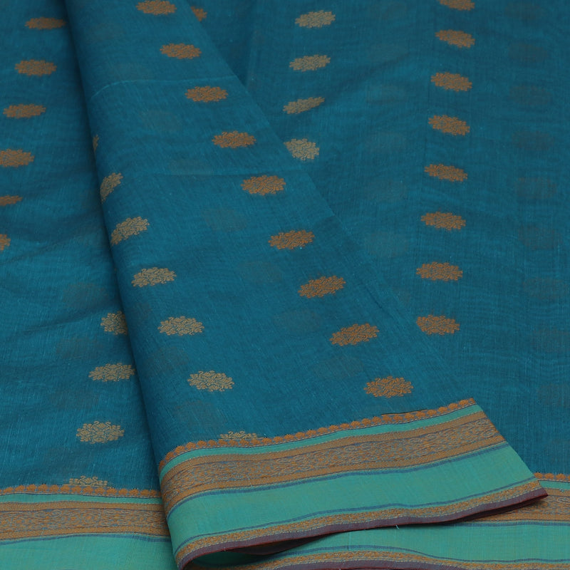 kotta Cotton Saree Blue With butta and simple Border