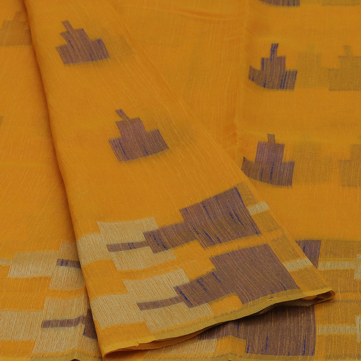 Jute Linen Saree Yellow with Temple Design and Simple border