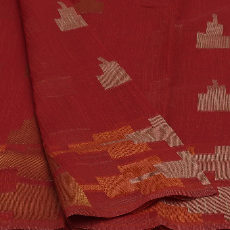 Jute Linen Saree Red with Temple Design and Simple border