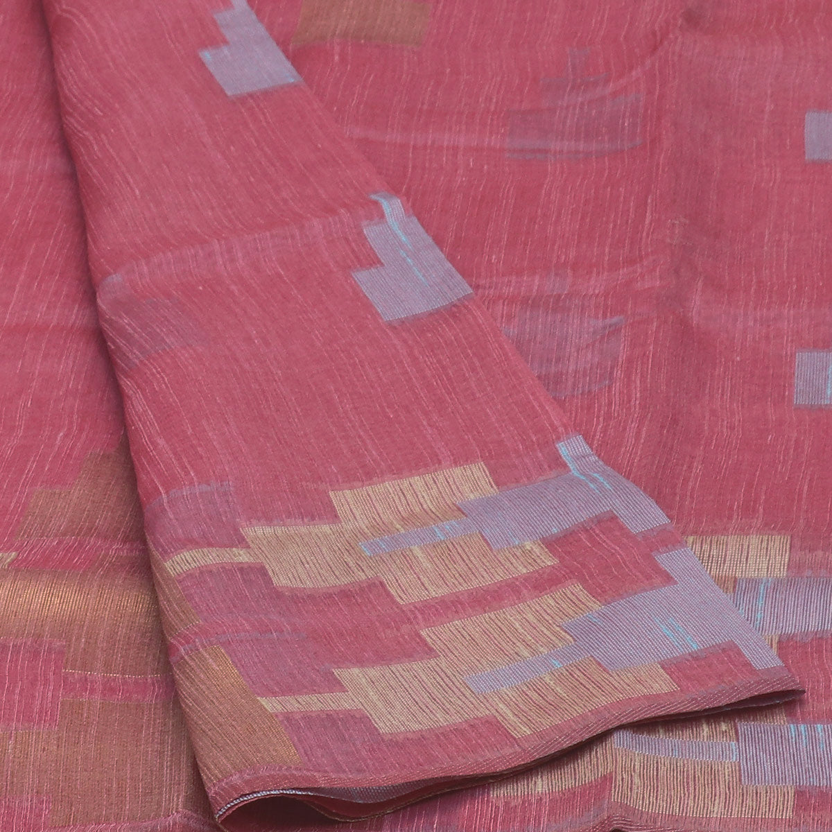 Jute Linen Saree Pink with Temple Design and Simple border