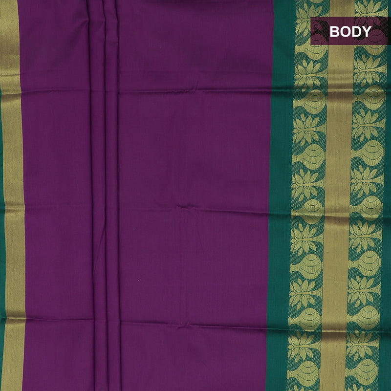 Art Silk Saree Violet and Dark Green with Tree Zari Border and Brocade Blouse