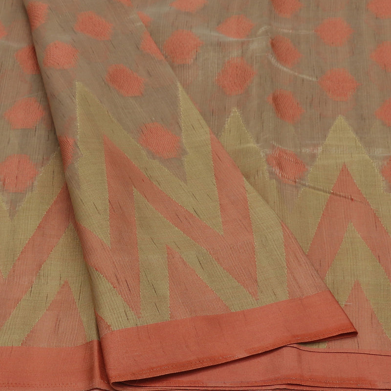 Semi Raw silk saree Oat color with Peach and Temple Border