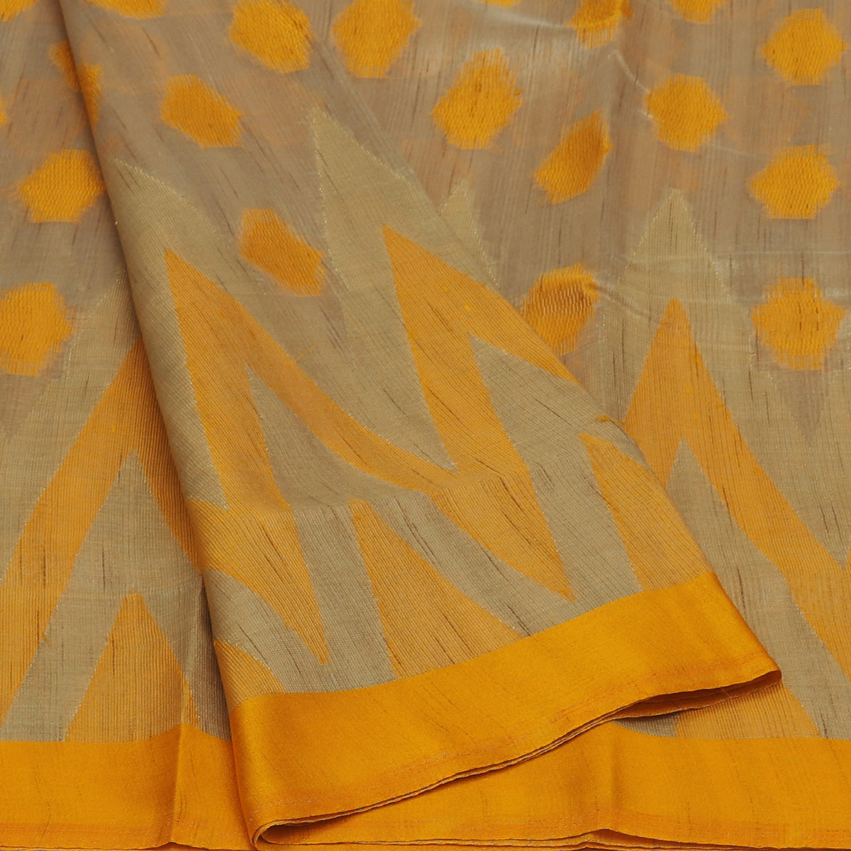 Semi Raw silk saree Oat color with Yellow and Temple Border