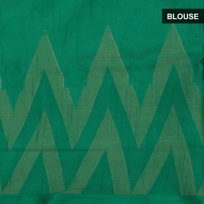 Semi Raw silk saree Oat color with Green and Temple Border