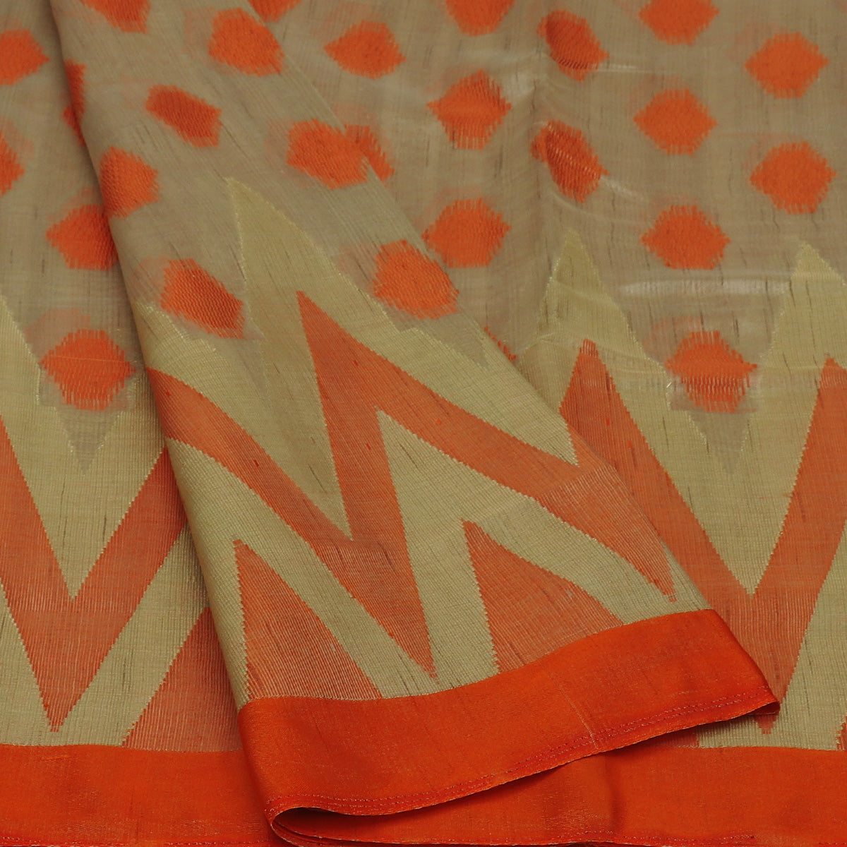 Semi Raw silk saree Oat color with Orange and Temple Border
