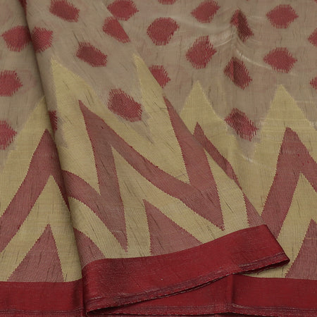 Semi Raw silk saree Oat color with Maroon and Temple Border