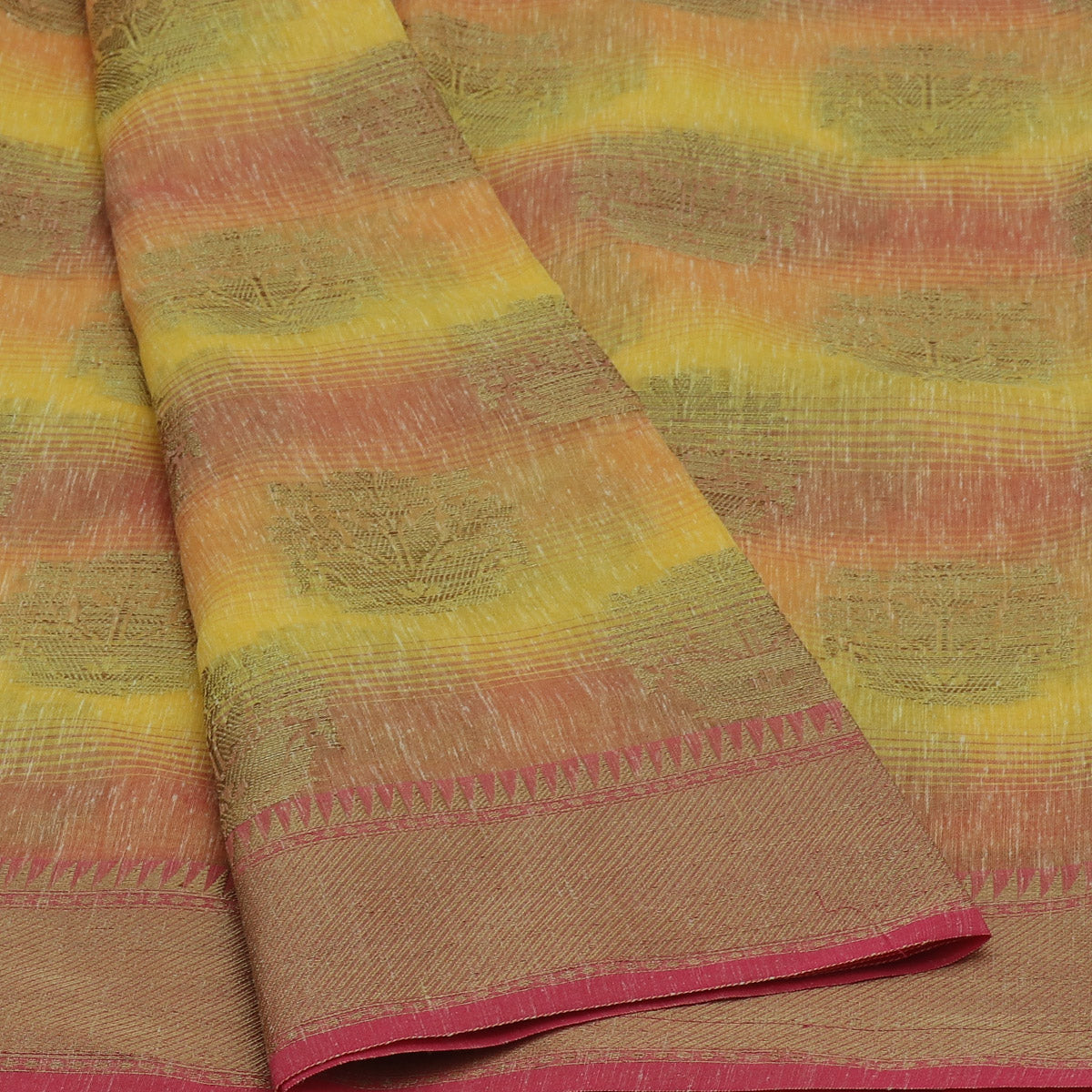 Jute Linen with Banarasi Zari Saree Yellow and Pink with Temple border