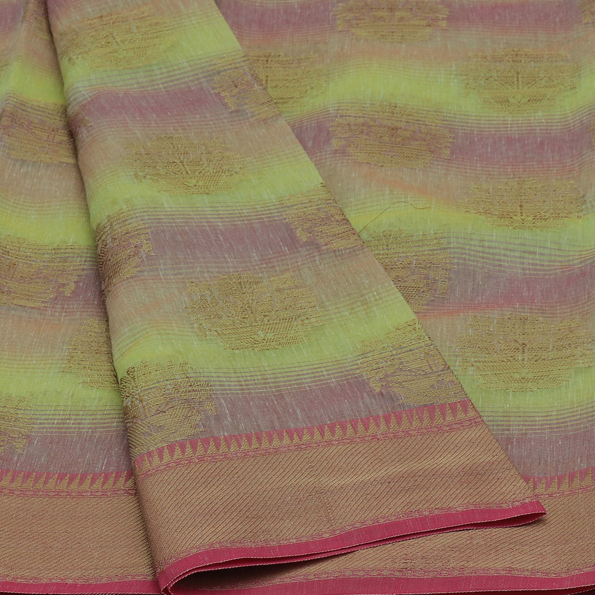 Jute Linen with Banarasi Zari Saree Pista Green and Pink with Temple border