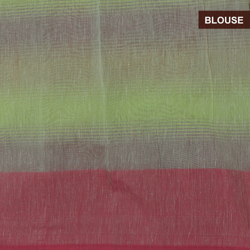 Jute Linen with Banarasi Zari Saree Pista Green and Pink with Temple border for Rs.Rs. 1990.00 | Semi linen by Prashanti Sarees