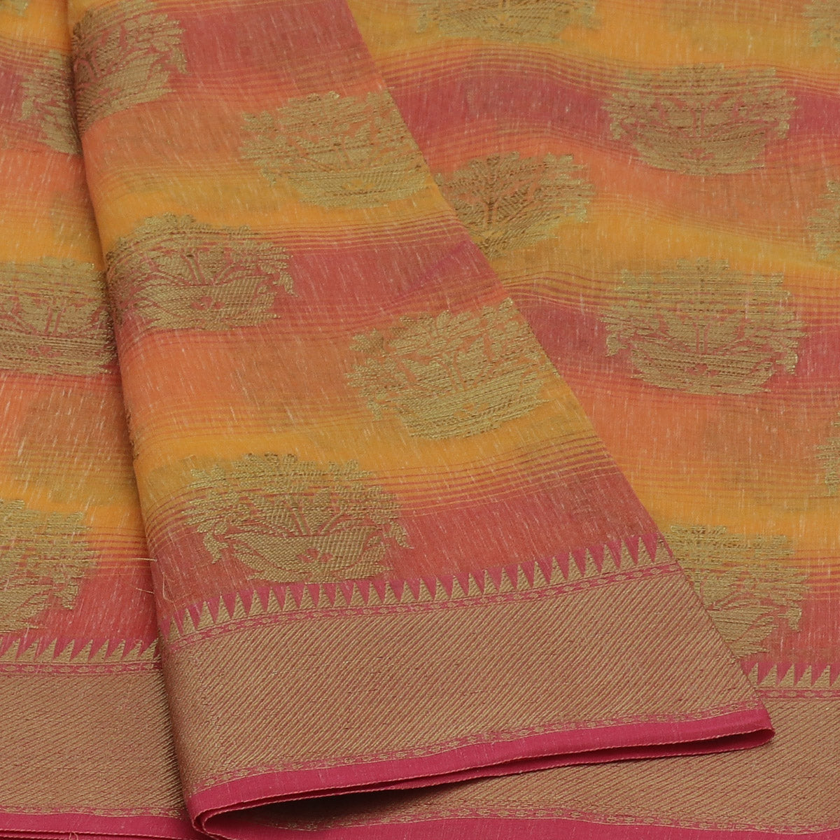 Jute Linen with Banarasi Zari Saree Orange and Pink with Temple border