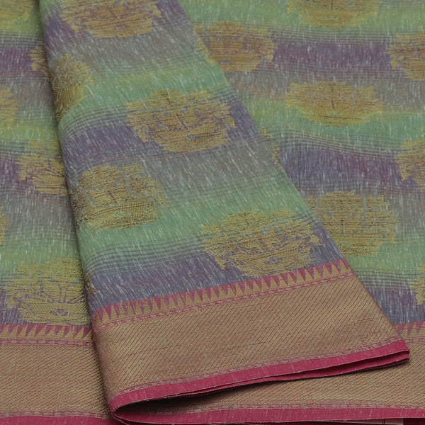 Jute Linen with Banarasi Zari Saree Lavender with Green and Pink with Temple border