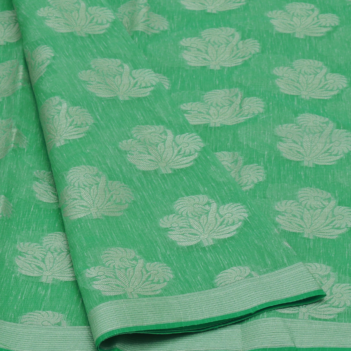 Jute Linen Silver Zari Saree Light Green with Simple border
