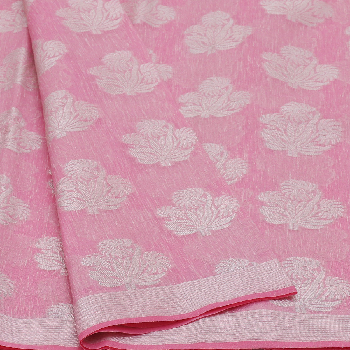 Jute Linen Silver Zari Saree Light Pink with Simple border