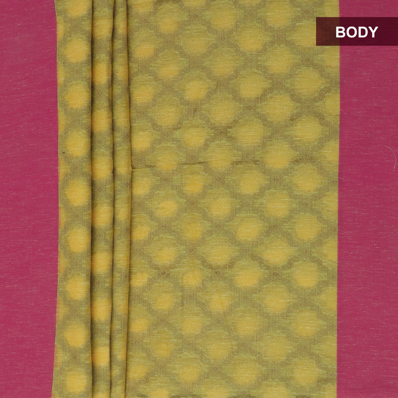 Jute Linen Saree Yellow and Pink with Simple border