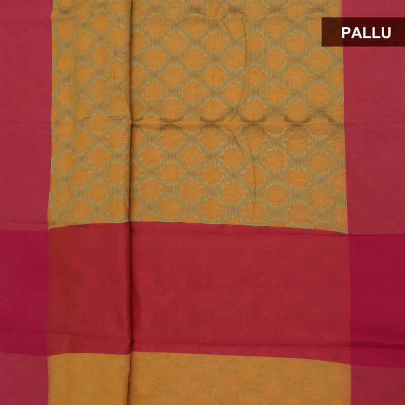 Jute Linen Saree Orange and Pink with Simple border