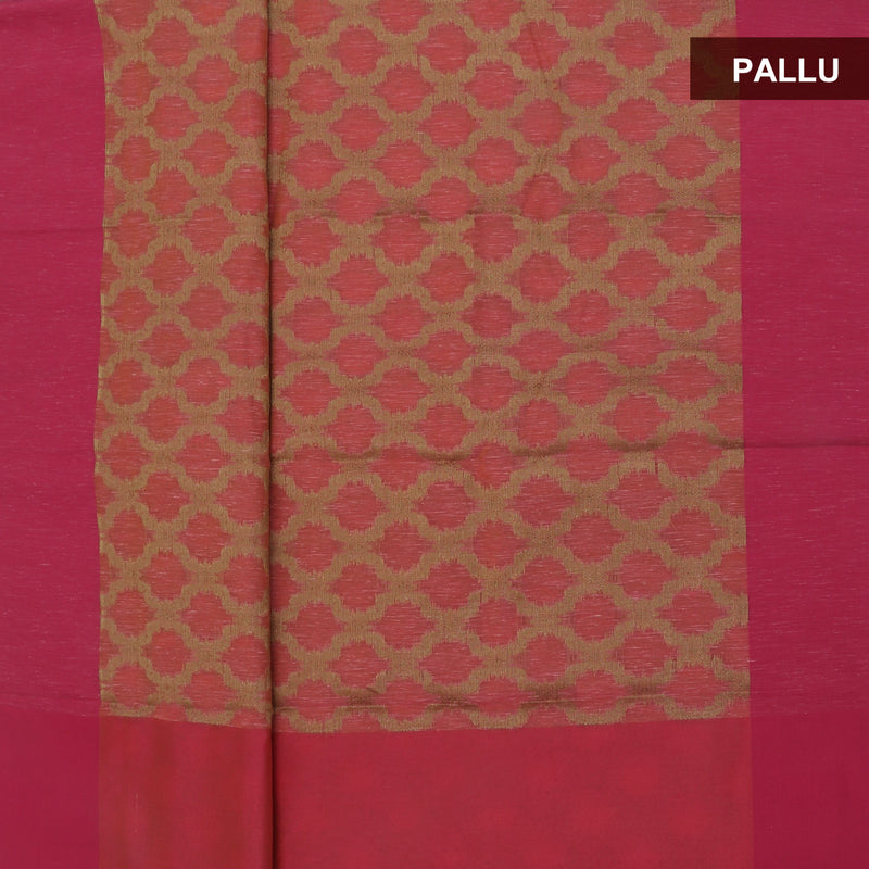 Jute Linen Saree Peach and Pink with Simple border