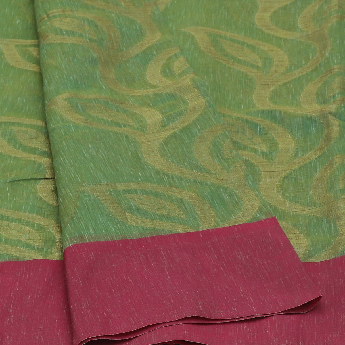 Jute Linen Saree Fern Green and Pink with Simple border