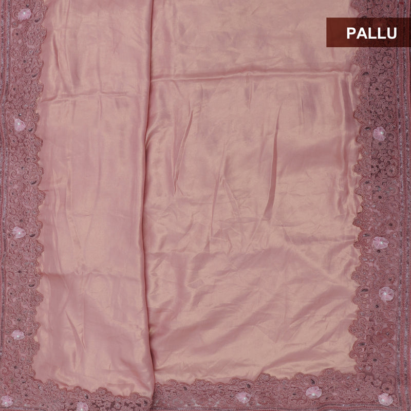 Fancy Saree dual shade of Flamingo Pink with Floral Embroidery border