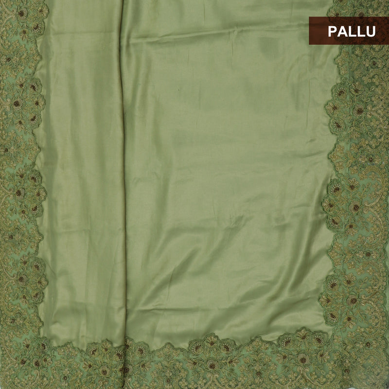 Fancy Saree dual shade of Olive Green with Floral Embroidery border