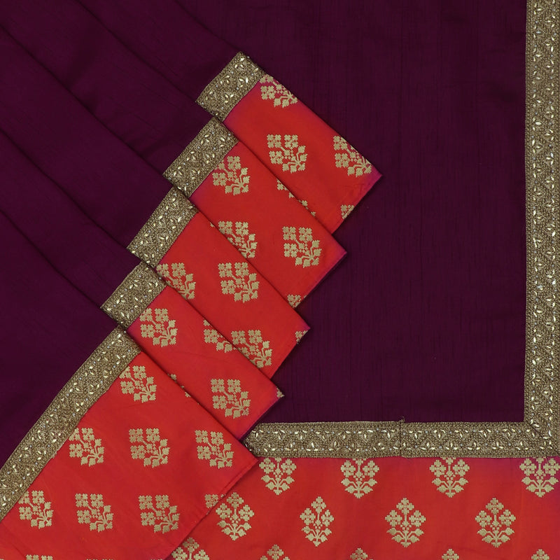 Fancy Saree Raisin Grape Color and Orange with Embroidery border