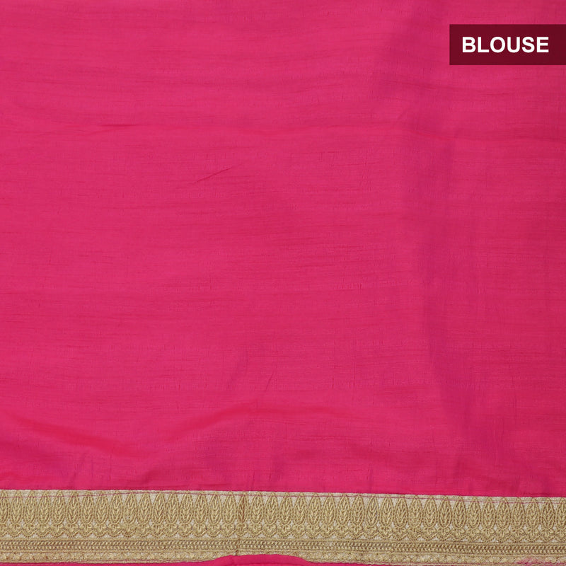 Fancy Saree Light Orange and Pink with Embroidery and Floral border