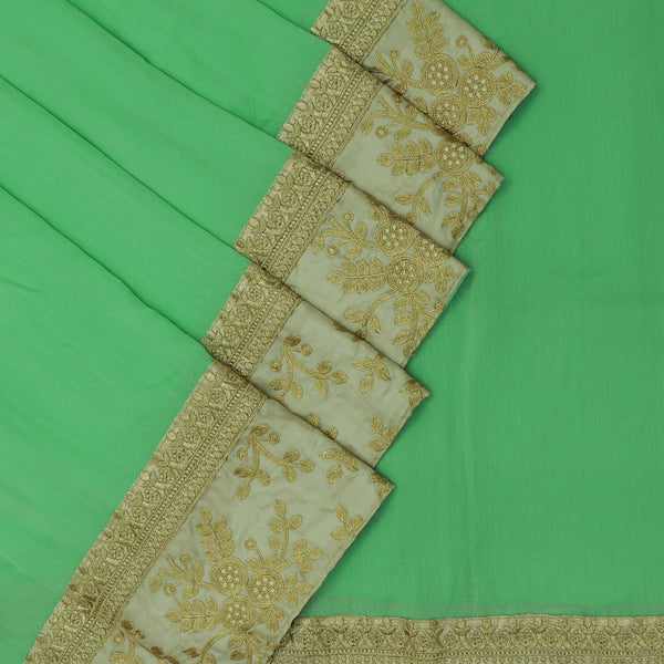 Fancy Saree Pista Green with Embroidery border