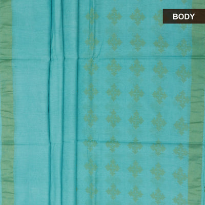Bhagalpuri Paper Silk Saree Sky blue with simple border