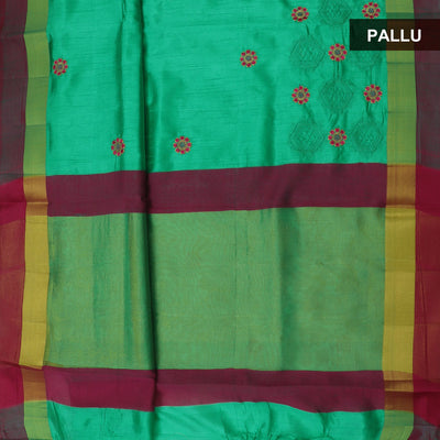 Raw Silk Saree Light green and Pink with floral embroidery and simple border