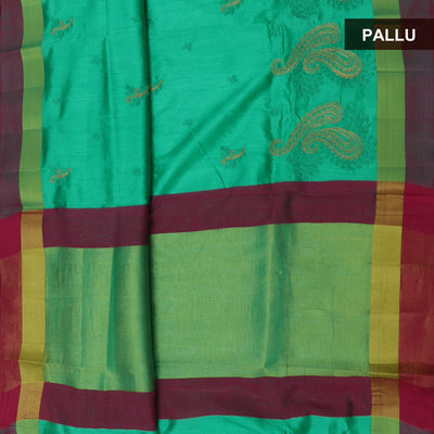 Raw Silk Saree Light Green and Pink with mango embroidery and simple border