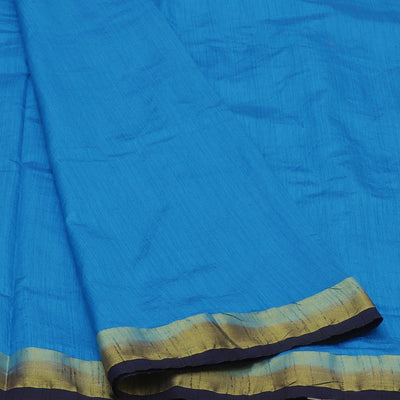 Raw Silk Saree Sky Blue and Blue with contrast border