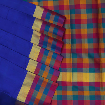 kanjivaram silk saree Ink Blue and Pink with Border Checks
