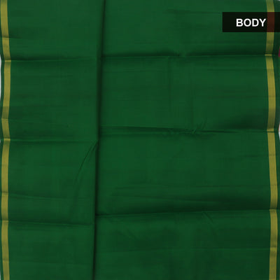 kanjivaram silk saree Green and Mustard with Pallu and Blouse checks