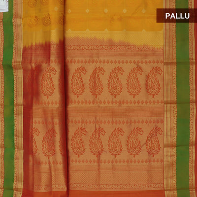 Kanjivaram SIlk Saree mango yellow with woven annam and zari butta