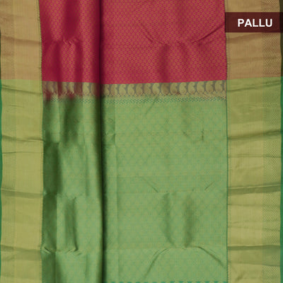 Kanjivaram Silk Saree pink and green with all over thread and zari border