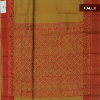 Kanjivaram Silk Saree sandal and red with thread border and thread pallu