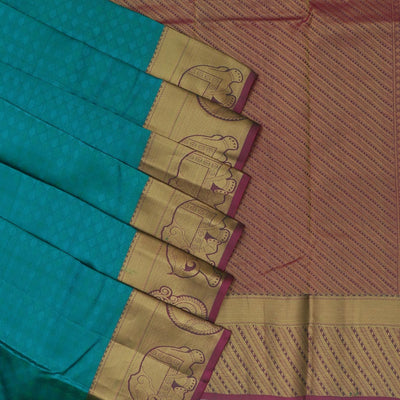 Kanjivaram Silk Saree teal blue and green with elephant and mango zari border