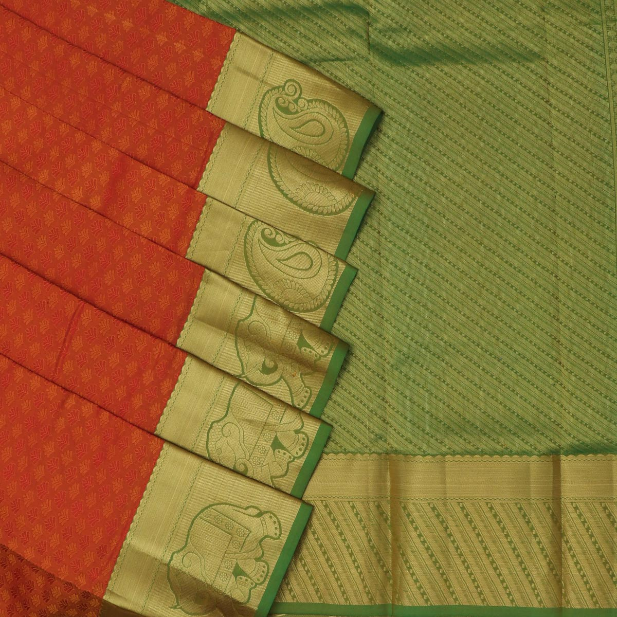 Kanjivaram Silk Saree rust with green elephant and mango zari border