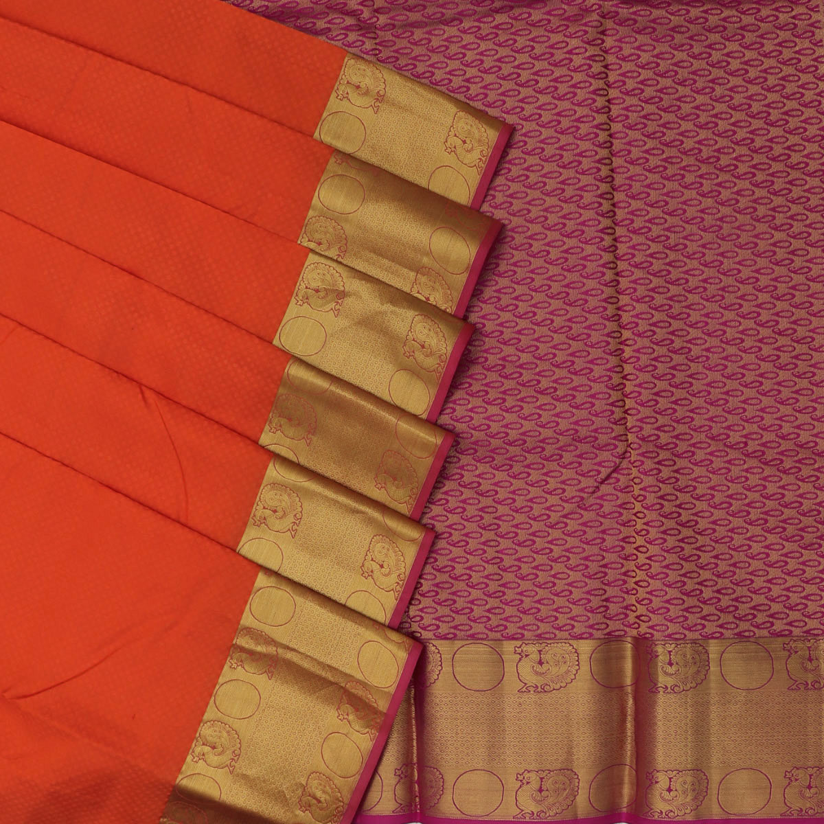 Kanjivaram Silk Saree orange with pink annam zari border for Rs.Rs. 6080.00 | Silk Sarees by Prashanti Sarees