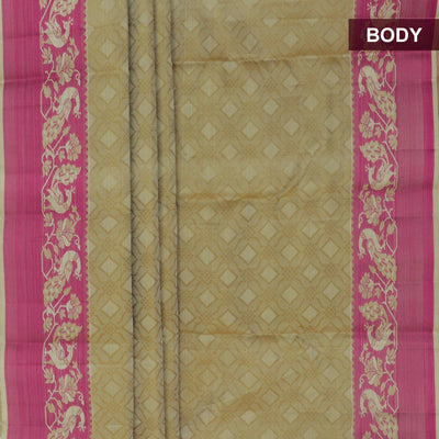 Kanjivaram Silk Saree Beige with pink peacock thread border and thread pallu