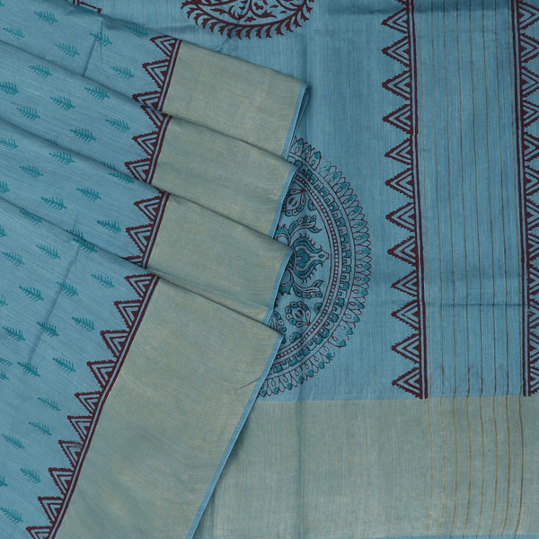 Pure Tussar Hand block printed saree Mild Blue with zari border