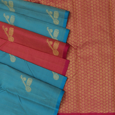 Kanjivaram Silk Saree Sky blue with Instrumental design and Pink with Partly pallu