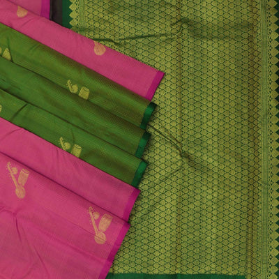 Kanjivaram Silk Saree Pink with Instrumental design and Green with Partly pallu