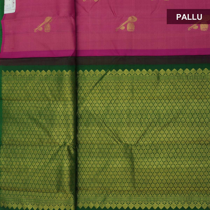 Kanjivaram Silk Saree Pink with Instrumental design and Green with Partly pallu for Rs.Rs. 13590.00 | Silk Sarees by Prashanti Sarees