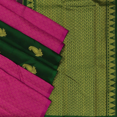 Kanjivaram Silk Saree Pink and Green with Partly pallu