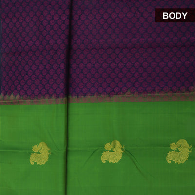 Kanjivaram Silk Saree dark Blue with violet flower design and green Partly pallu