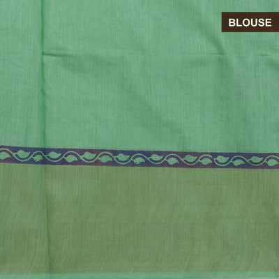 Pure Tussar Hand block printed saree Mint Green with zari border